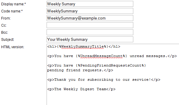 Using kentico 39 s email templates in custom code johnny code for Kentico email template